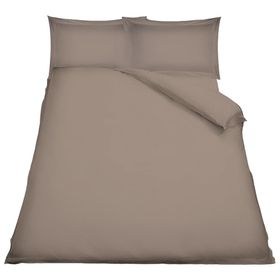 Simon Baker - T230 Oxford Straight Stitched Cotton Percale 3 Piece Duvet Set - Stone