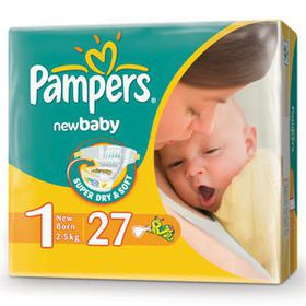 Pampers - New Baby Nappies - Size 1 - Carry Pack (27 count)