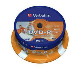 VERBATIM - 4.7GB DVD-R (16X) - PRINTABLE, SPINDLE (BOX OF 25)