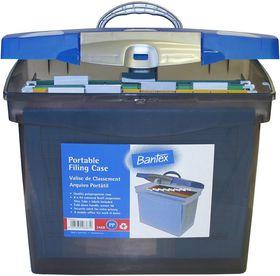 Bantex Portable Suspension Polypropylene File Box - Cobalt Blue