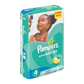 Pampers - Active Baby Nappies - Size 4 - Jumbo Pack (66 count)
