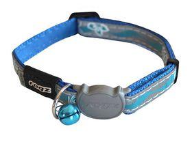 Rogz Night Cat Reflective Safeloc Breakaway Collar - Blue Floral Design